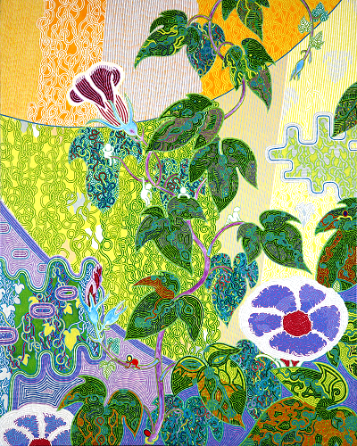 View larger image.Oil Painting 18 canvas painting Morning glories Nature Flowers World Peace by Japanese Artist Fumihiro Kato